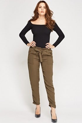 High Waist Tie Up Trousers