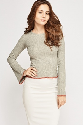 Metallic Insert Ribbed Top