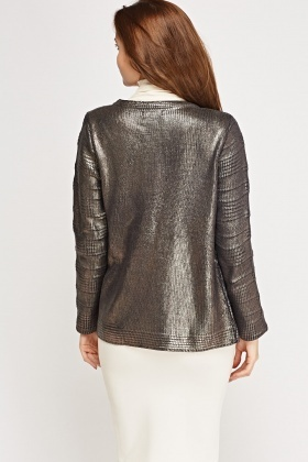 Metallic Waxed Zip Up Blazer