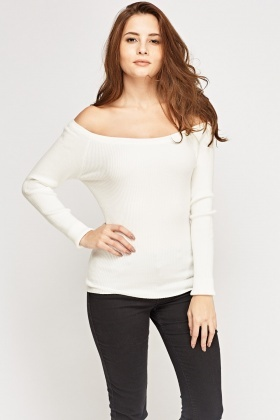 Off Shoulder Ribbed Knit Top