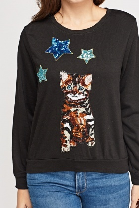 Sequin Cat Front Jumper