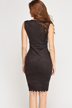 Suedette Scallop Trim Dress