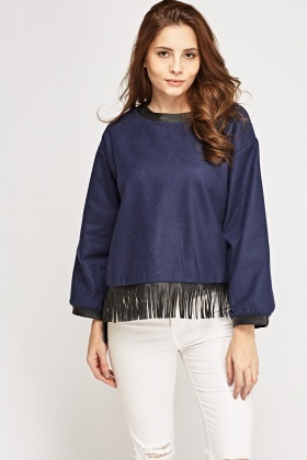 Tasseled Contrast Trim Jumper
