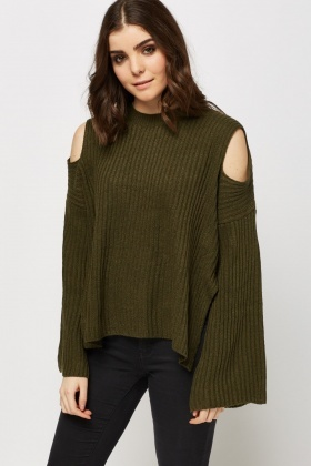 Cut Out Shoulder Knitted Jumper