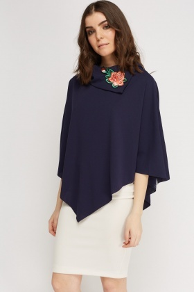 Embroidered Neck Batwing Top