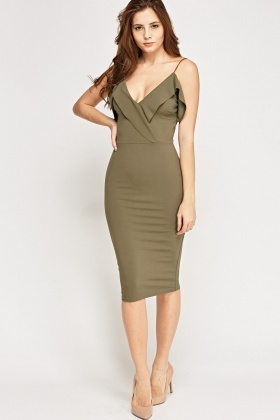 Flare Plunge Midi Bodycon Dress
