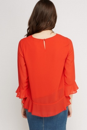 Flared Sleeve Sheer Blouse