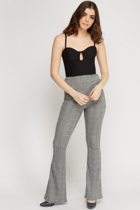 Houndstooth Flared Hem Trousers