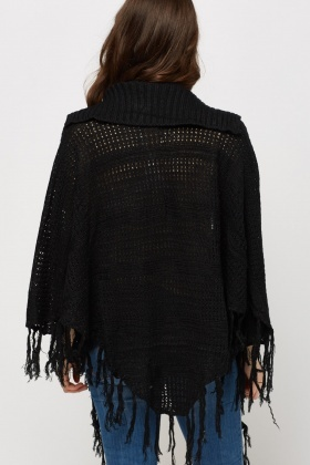 Loose Knit Fringed Hem Cardigan