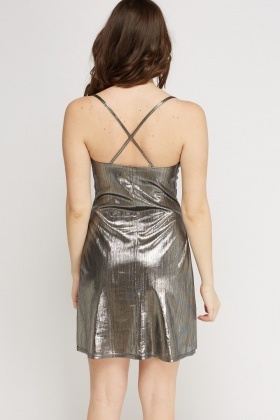 Metallic Spaghetti Strap Dress