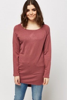 Thin Knit Dip Hem Sweater