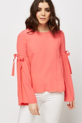 Tie Up Flared Sleeve Top