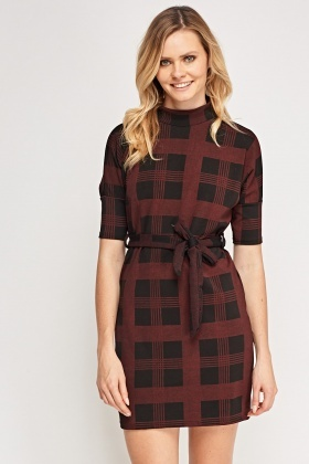 Checked Tie Up Shift Dress