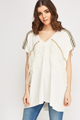 Fringed Low Neck Cover Up Top