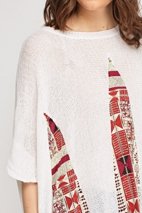 Knitted Contrast Pom Pom Trim Jumper