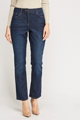 Straight Leg Washed Denim Blue Jeans