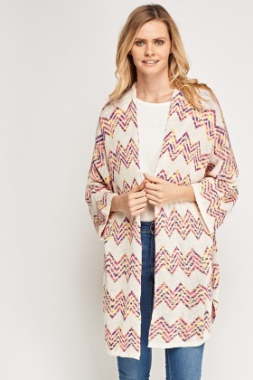 Zig Zag Knitted Causal Cardigan