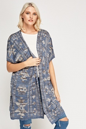 Blue Geo Knitted Cardigan