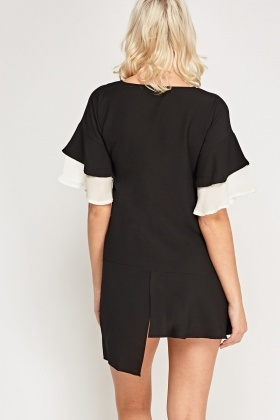 Contrast Sleeve Asymmetric Dress