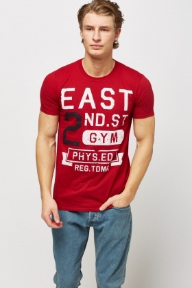Printed Front Dark Red T-Shirt