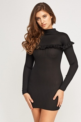 High Neck Ribbed Mini Dress