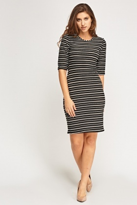 Mesh Insert Striped Dress