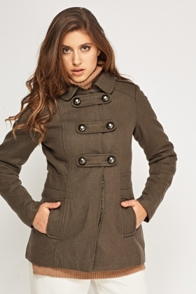 Military Dark Olive Fitted Coat - Just £5