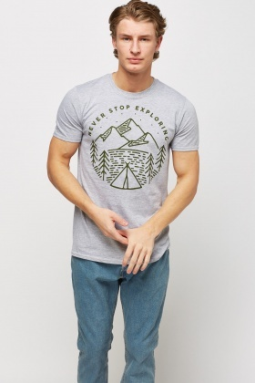 Mountain Print Grey T-Shirt