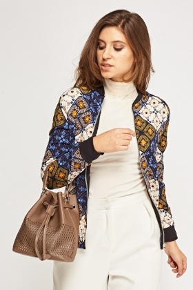 Patchwork Printed Lightweight Jacket