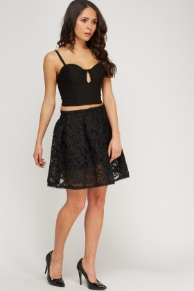 Mesh Overlay Swing Skirt