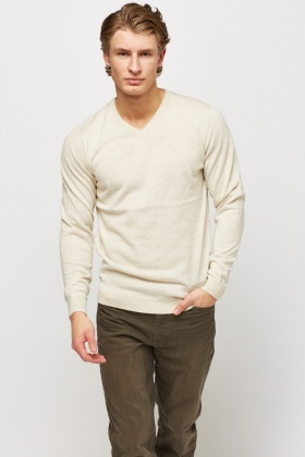 V-Neck Knitted Speckle Sweater