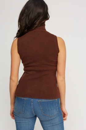 Knitted Roll Neck Sleeveless Jumper