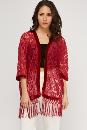 Velveteen Trim Lace Cover Up