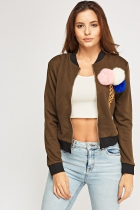Faux Fur Pom-Pom Detail Lightweight Jacket