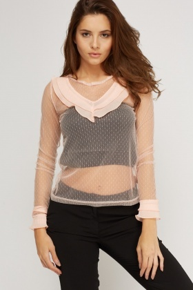 Frilled Trim Mesh Top