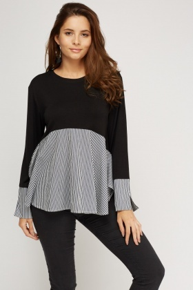 Insert Contrast Casual Top
