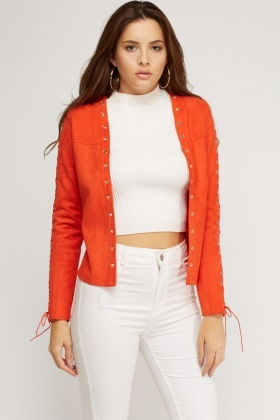 Lace Up Sleeve Suedette Jacket