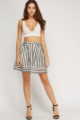 Mono Stripe Pleated Skirt