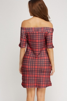 Red Checked Off Shoulder Dress