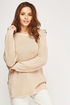 Ribbed Knit Longline Jumper