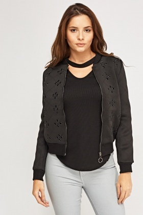 Studded Quilted Scuba Jacket
