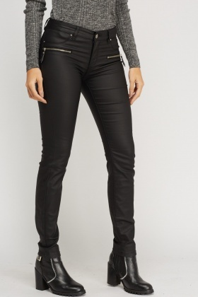 Waxed Zip Detail Trousers