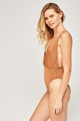 Brown Plunge Bodysuit