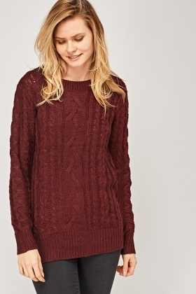 Cable Knit Dusty Pink Jumper