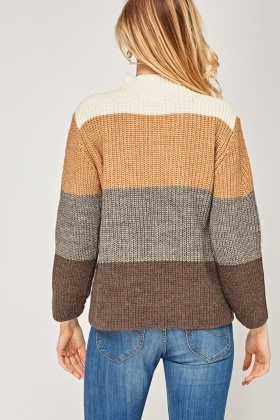 Colour Block Ribbed Knitted Jumper