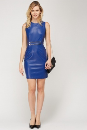 Faux Leather Dark Blue Dress