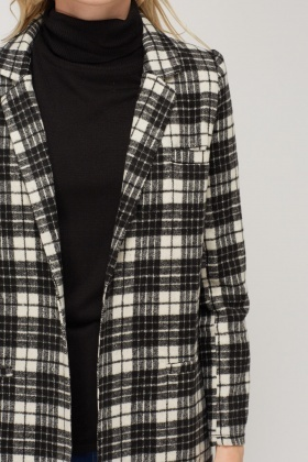 Fleece Checked Light Weight Coat