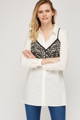 Lace Cami Overlay Shirt