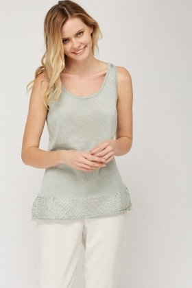 Laser Cut Hem Metallic Knitted Top