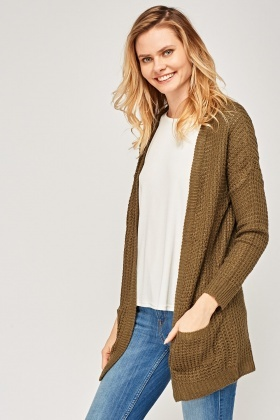 Loose Knit Open Front Cardigan